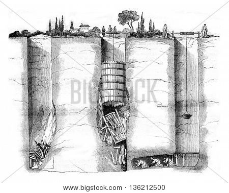 Section of the wells Champvert and rescue shaft, vintage engraved illustration. Magasin Pittoresque 1836.