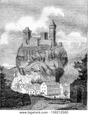 The Chateau de Foix, the department of Ariege, vintage engraved illustration. Magasin Pittoresque 1836.
