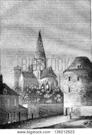 Church of Our Lady of Semur department of Cote d'Or, vintage engraved illustration. Magasin Pittoresque 1836.
