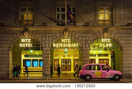 LONDON, UK - CIRCA NOVEMBER 2011: The Ritz hotel at night.