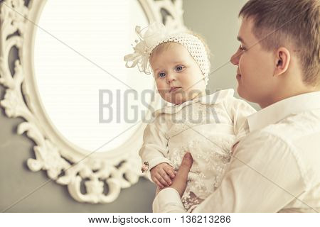 Family, Father And Daughter Together At Home Cuddling Beautiful And Happy