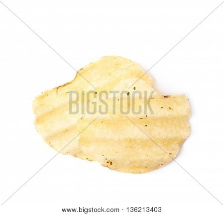 Few potato chips crisps, composition isolated over the white background