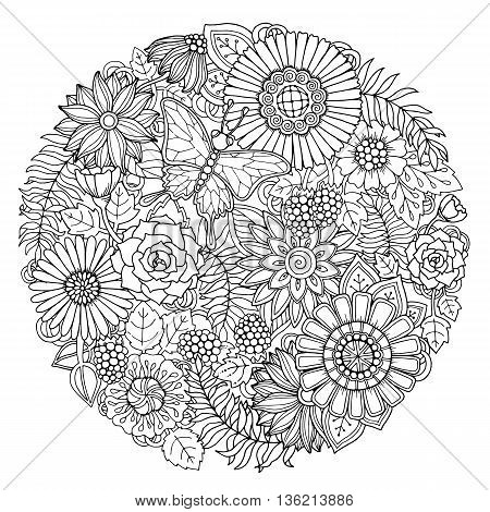 Circle summer doodle flower ornament with butterfly. Hand drawn art floral mandala. Black and white background. Zentangle inspired pattern for coloring book pages for adults and kids.