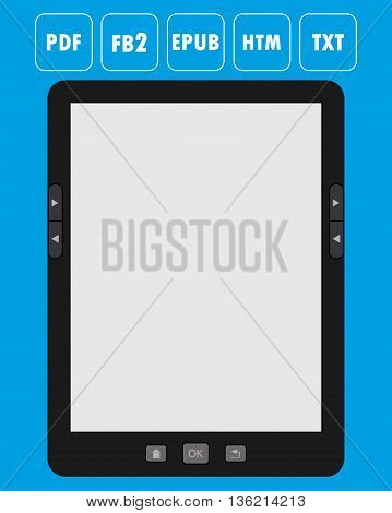 Vector illustration of a portable modern tablet e-book reader with icons of popular formats