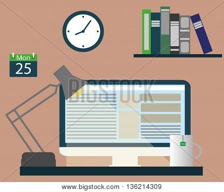 Computer screen on the table. Vector illustration of the work place.