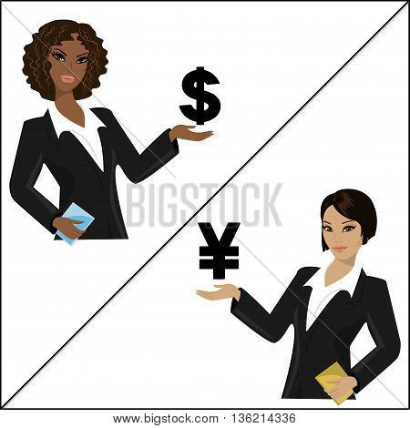 Girls holding dollar sign and yen signvector illustration