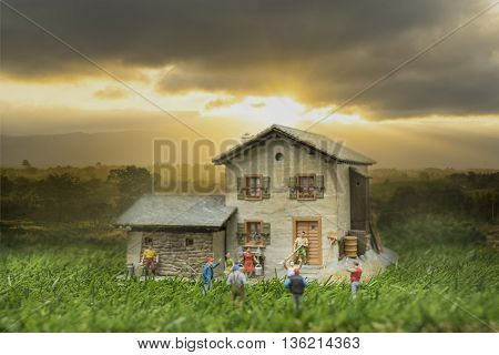 mini life in countryside and sunrise on fog in the morning