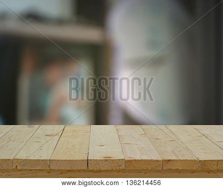 wood table top on blur background decoration in house