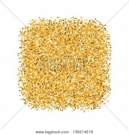 Golden Glitter Object in the Form of Square on White Background