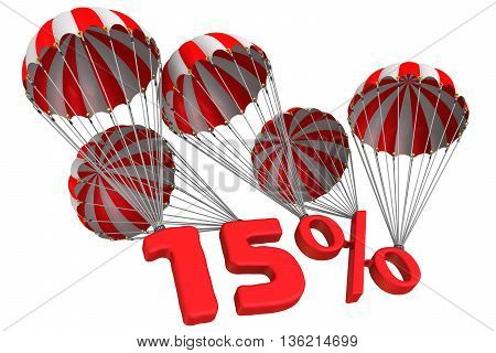 Fifteen percent is falling down on parachute. Isolated. 3D Illustration