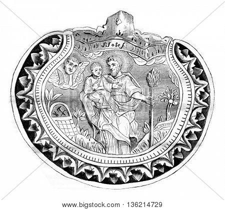 A Pilgrim carved shell, vintage engraved illustration. Magasin Pittoresque 1836.