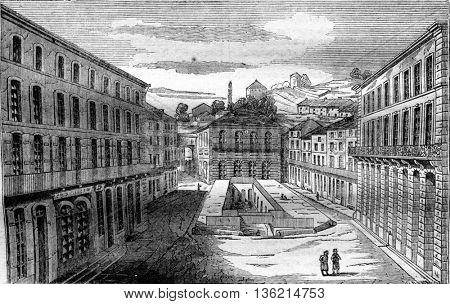 View of the bath of the poor, has Plombieres, department des Vosges, vintage engraved illustration. Magasin Pittoresque 1836.