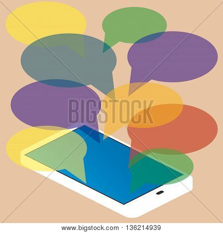 smartphone with blank speech bubbles for text. Text messaging flat design concept. Eps 10 vector illustration
