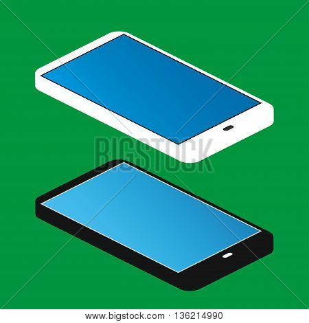 black and white smartphone isometric vector illustration