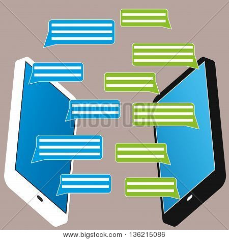 Black and white smartphone with blank speech bubbles for text. Text messaging design concept. Eps 10 vector illustration