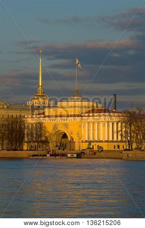 SAINT PETERSBURG, RUSSIA - APRIL 23, 2016: View of the spire of the Admiralty in the april twilight. Historical landmark of the city Saint Petersburg