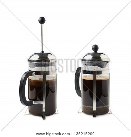 Glass french press pot filled with coffee, composition isolated over the white background, set of two different foreshortenings