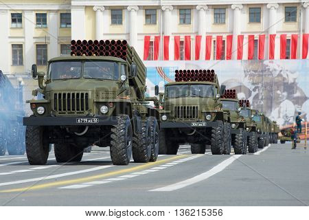 SAINT PETERSBURG, RUSSIA - MAY 05, 2015: Vehicles BM-21-1 (