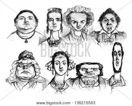 Different facial shapes, Types of caricatures, vintage engraved illustration. Magasin Pittoresque 1836.