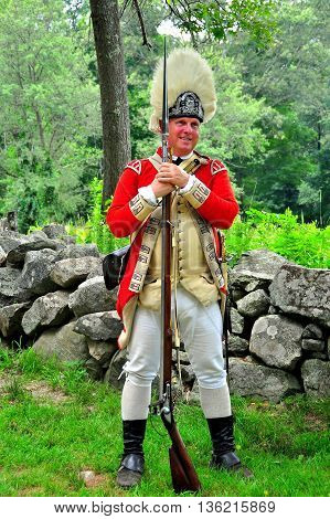 Lincoln Massachusetts - July 10 2013: Re-enactor in 18th century British