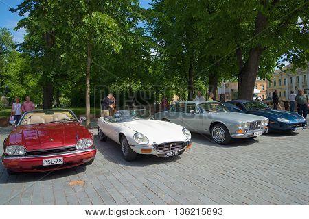 TURKU, FINLAND - JUNE 13, 2015: A parade of cars