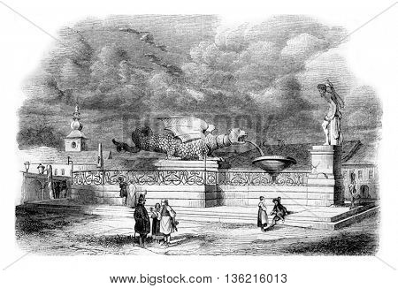 Fountain of the Dragon, in Klagenfurt, Carinthia, vintage engraved illustration. Magasin Pittoresque 1842.
