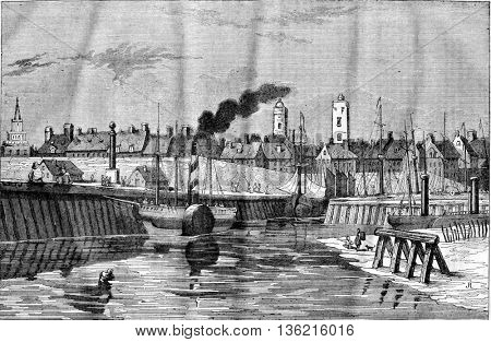 View of the port and the city of Calais, department of Pas de Calais, vintage engraved illustration. Magasin Pittoresque 1836.