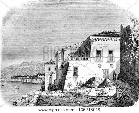 Coffee House in Sorrento, vintage engraved illustration. Magasin Pittoresque 1842.