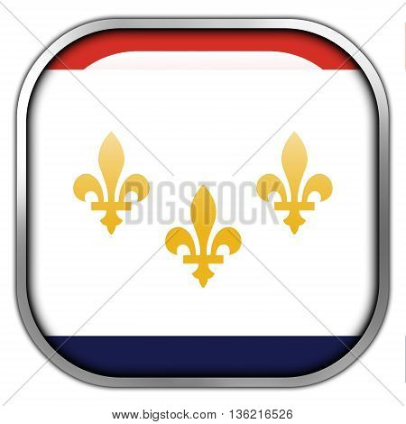 Flag Of New Orleans, Louisiana, Square Glossy Button