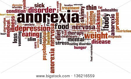 Anorexia word cloud concept. Vector illustration on white