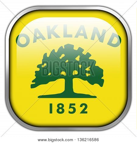 Flag Of Oakland, California, Square Glossy Button