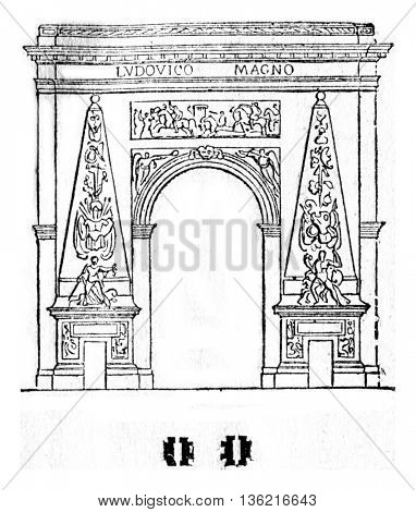 Porte Saint Denis, vintage engraved illustration. Magasin Pittoresque 1836.