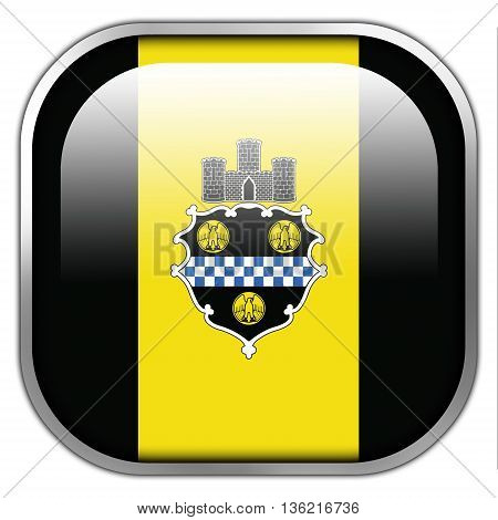 Flag Of Pittsburgh, Pennsylvania, Square Glossy Button