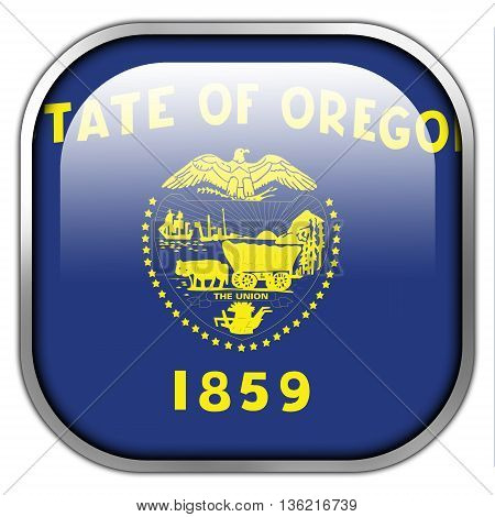 Flag Of Oregon State, Square Glossy Button