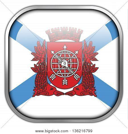 Flag Of Rio De Janeiro, Square Glossy Button