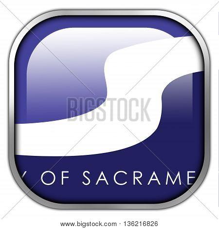 Flag Of Sacramento, California, Square Glossy Button