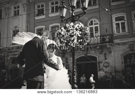 Wedding Couple On Streets Of Old City