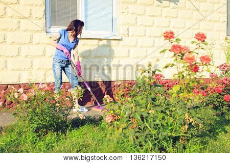 Attractive young girl washes windows at home