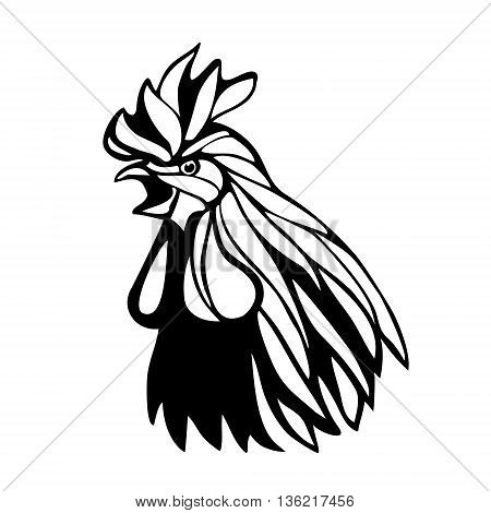 Vector mascot of rooster head. Black and white eps8 illustration
