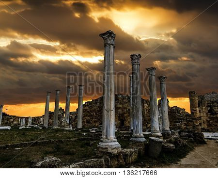 May 24 2016.Famagusta.Ruins and ancient columns in the ancient city of Salamis in Famagusta at sunset.Northern Cyprus.