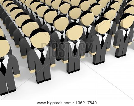3D business people on white background. 3D illustration.
