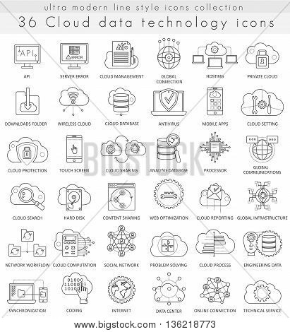 Vector Cloud data technology ultra modern outline line icons for web and apps