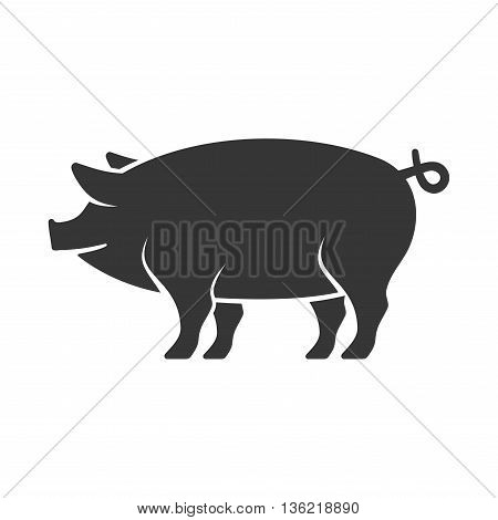 Pig Icon on White Background. Vector Illustration