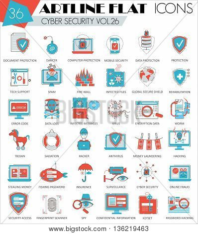 Vector Cyber security ultra modern outline artline flat line icons for web and apps