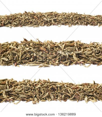 Line of dried thyme seasoning isolated over the white background, set of three different foreshortenings