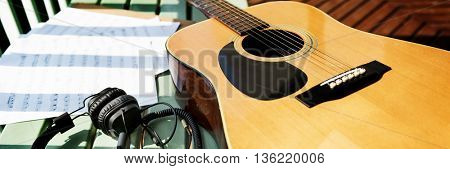 Guitar Music Note Paper Song Concept