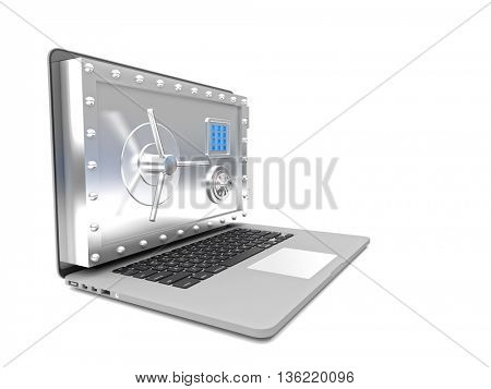 3d image of notebook with safe door on screen