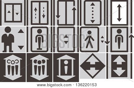 Elevator - up - down icons set