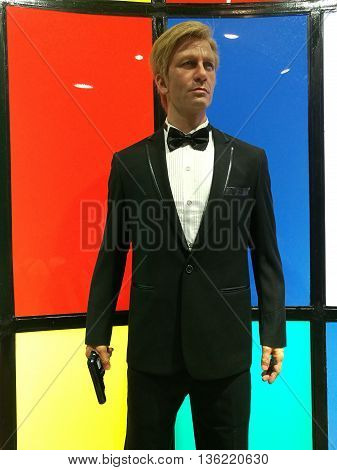 Da Nang, Vietnam - Jun 20, 2016: James Bond 007 wax statue on display at Ba Na Hills. The James Bond series focuses on a fictional British Secret Service agent created in 1953 by writer Ian Fleming