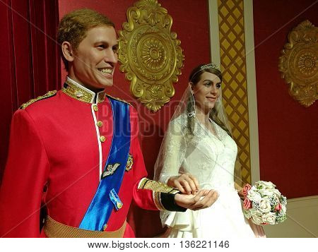 Da Nang, Vietnam - Jun 20, 2016: British Royal Family wax statue on display at Ba Na Hills mountain resort.